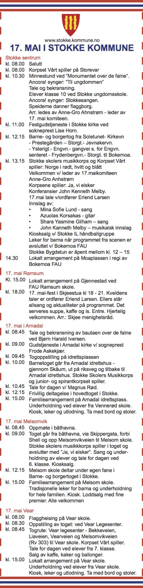 17. mai program Stokke kommune 2016