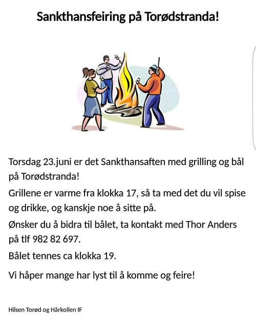 Sankthansfeiring på Torødstranda 2016