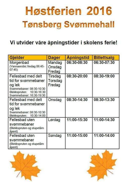 Utvidede åpningstider i Tønsberg svømmehall høstferien 2016