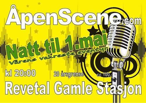 Åpen scene natt til 1. mai