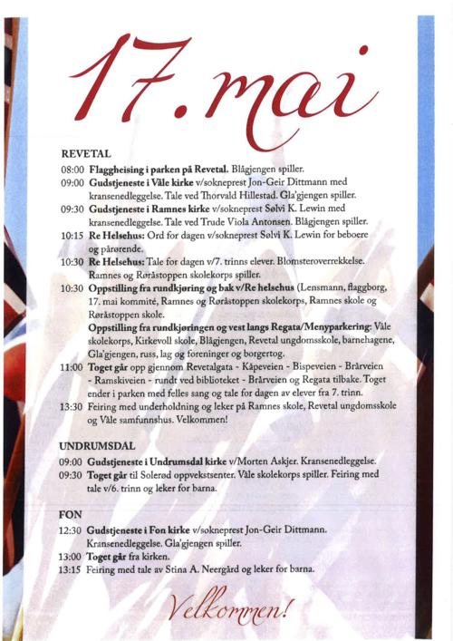 17. mai program Re kommune 2016