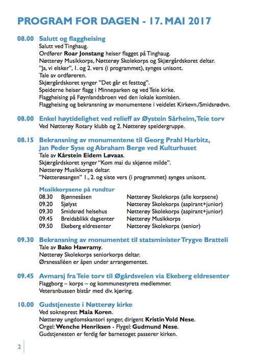 17. mai programmet 2017 på Nøtterøy